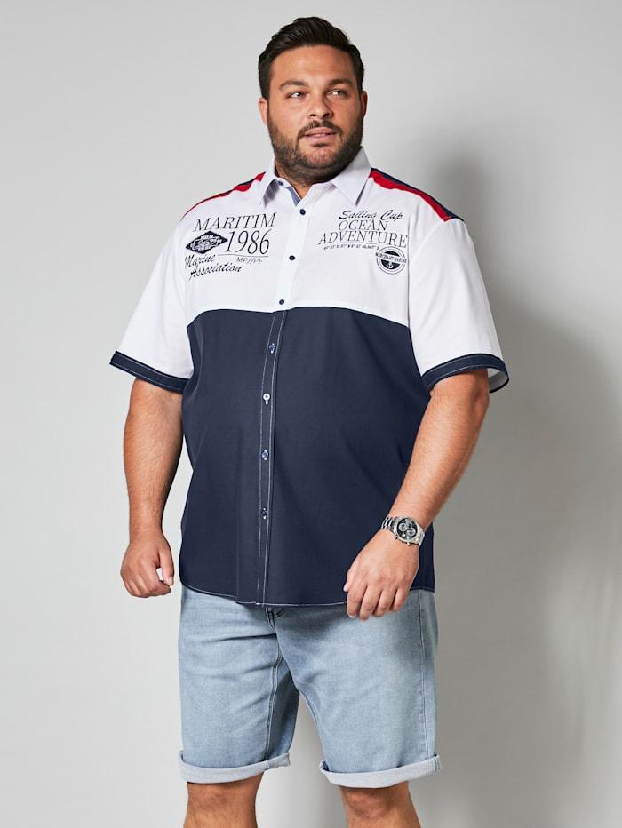 Men Plus Overhemd met kentkraag, Marine/Rood/Wit