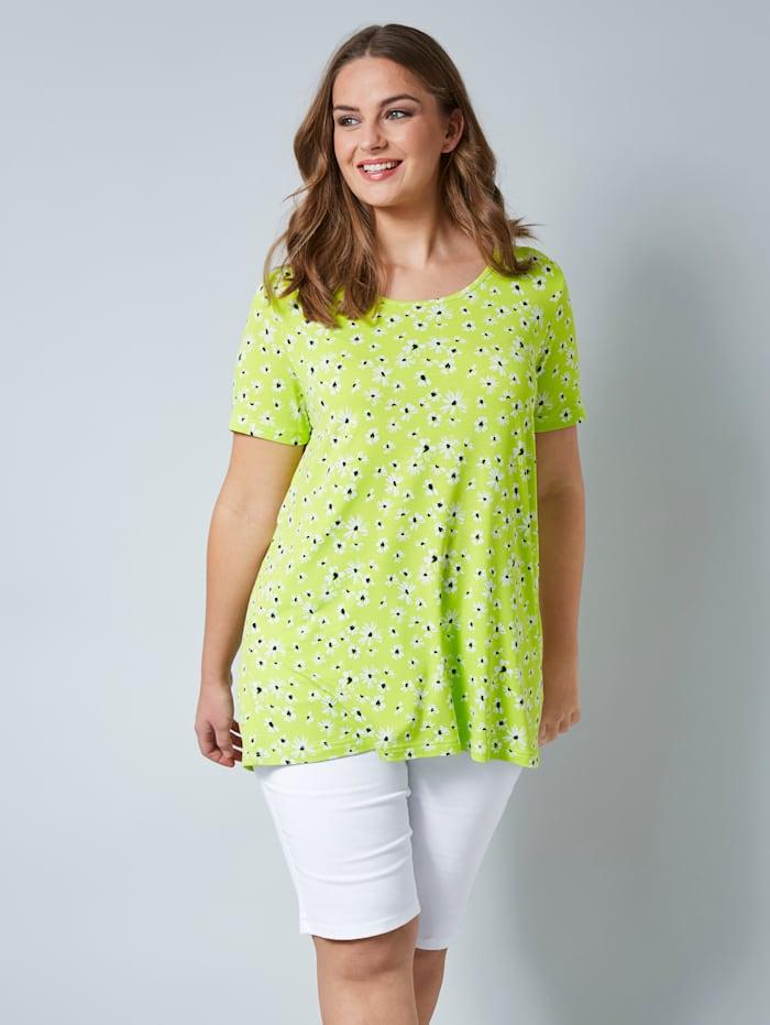 Janet & Joyce Shirt mit floralem Print, Neongrün/Weiß