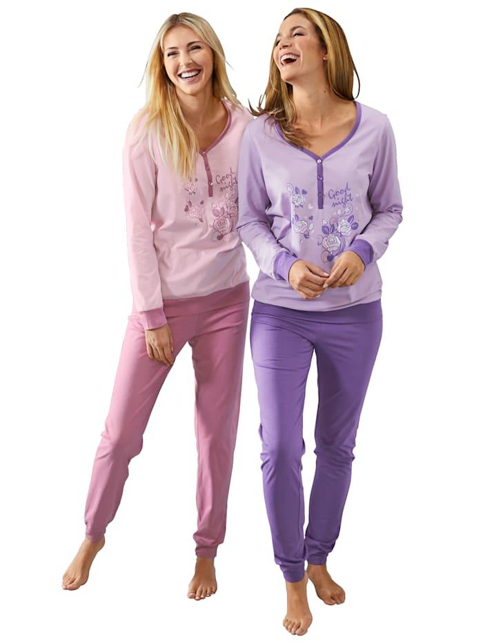 Harmony Pyjamas à motif fleuri, Rose/Parme
