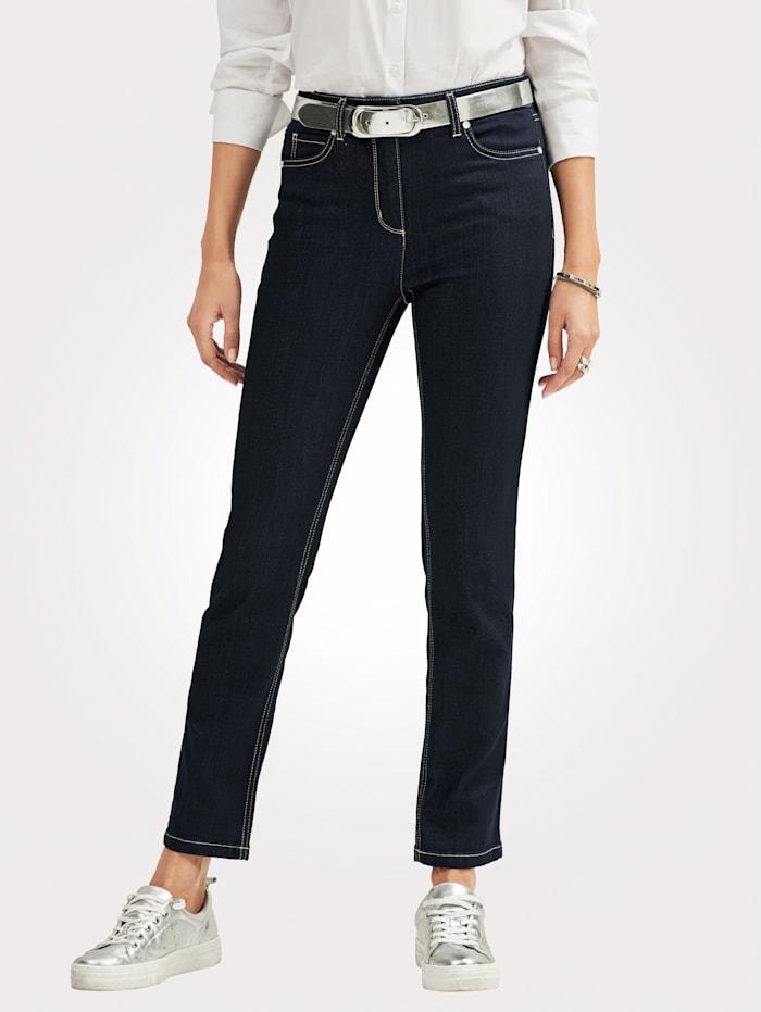 MONA Jean de coupe 5 poches, Bleu foncé
