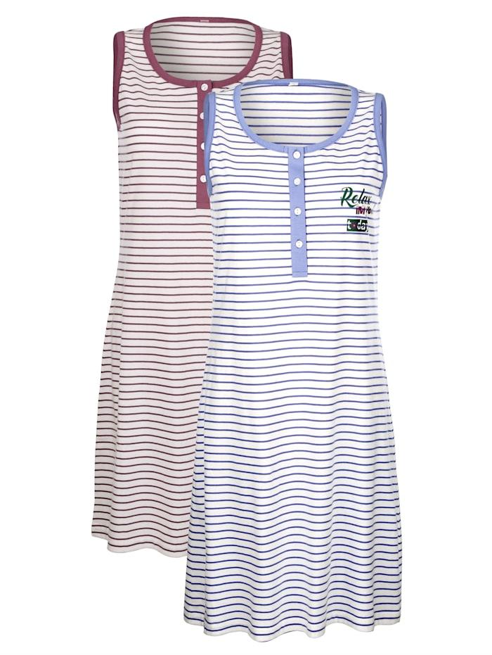 Blue Moon Nachthemden in garngefärbtem Ringeldessin, Ecru/Lavendel/Mauve