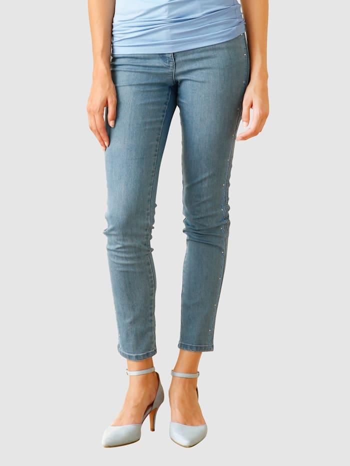 AMY VERMONT Jeans mit Stickerei und Strasssteindekoration, Blue bleached