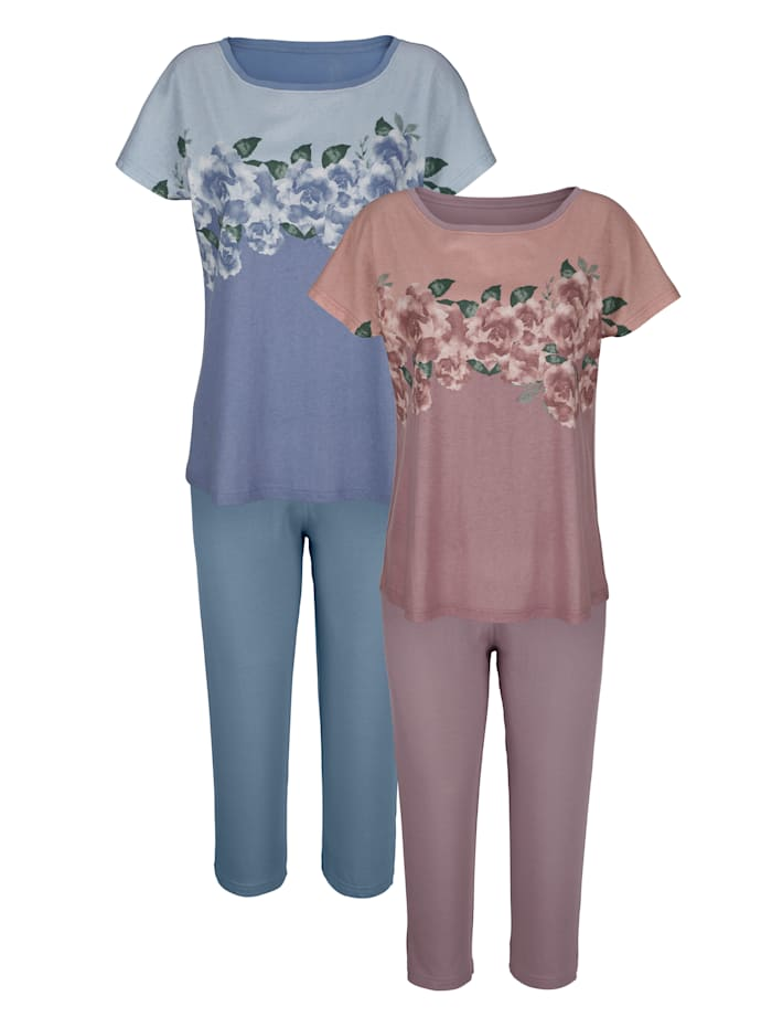 Harmony Pyjamas med romantiska rosor, Gammalrosa/Blå