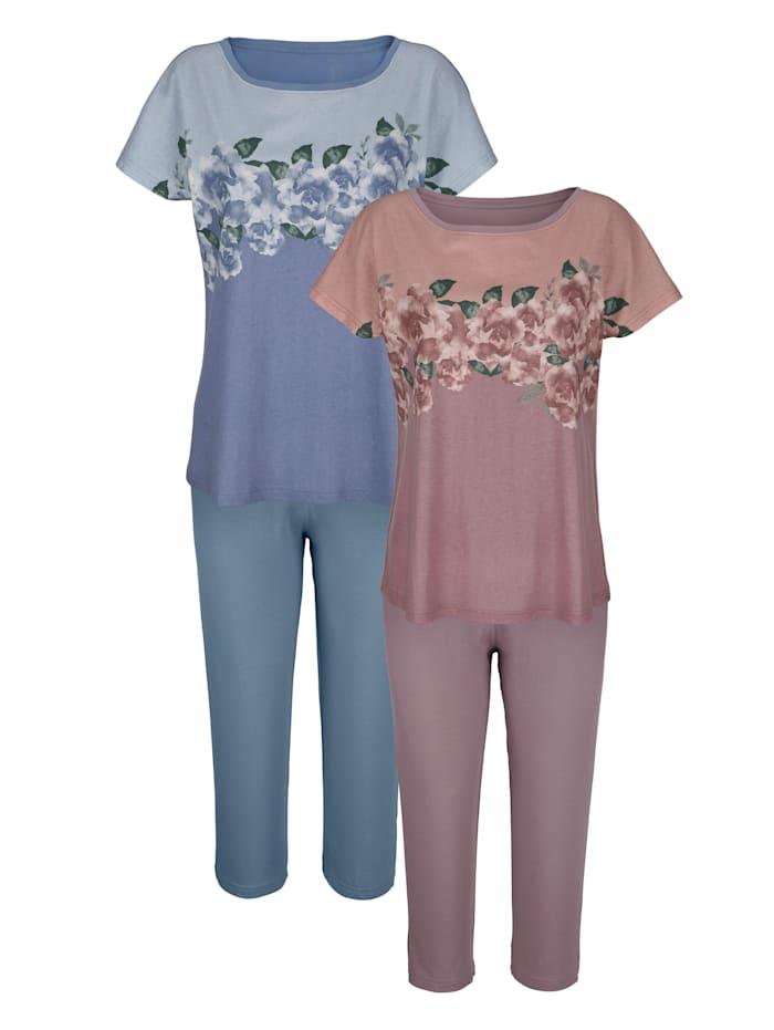 Harmony Schlafanzüge mit hübschem Rosenmotiv, Altrosa/Blau