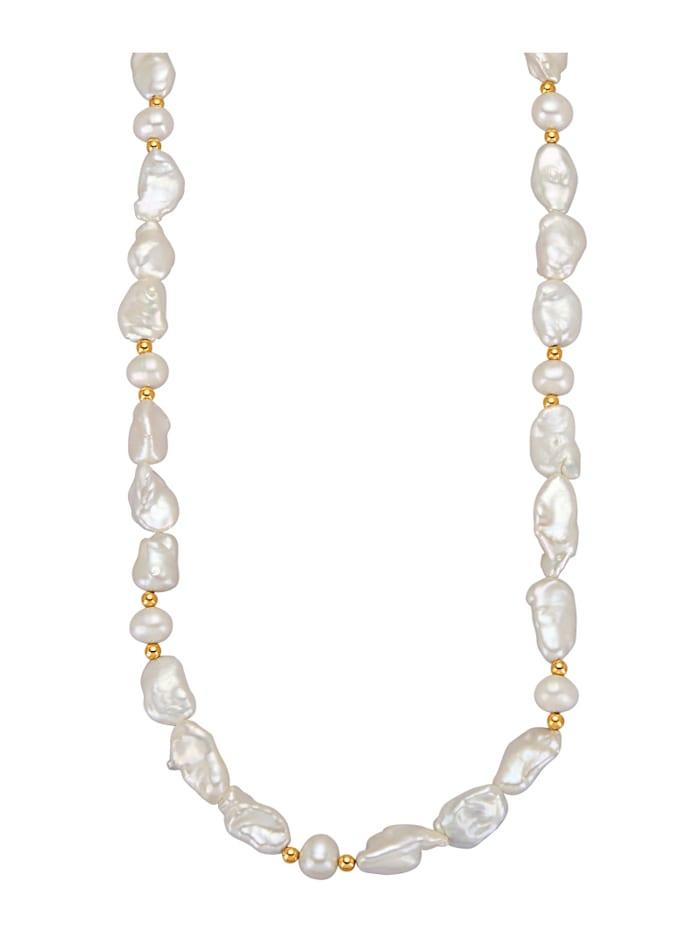 Diemer Highlights Halskette mit Süßwasser-Zuchtperlen mit Süßwasser-Zuchtperlen, Weiß
