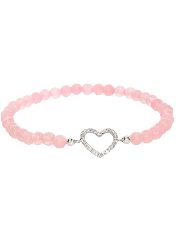 1001 Diamonds Herz Rosenquarz Armband 925 Silber 17 cm, rosa