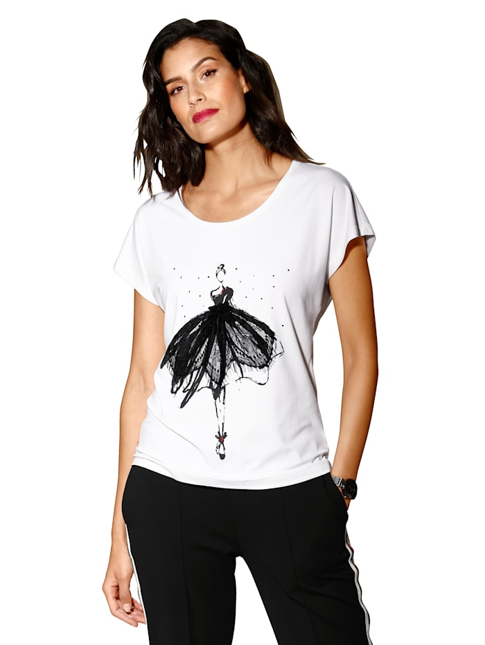 AMY VERMONT Shirt met dessin, Wit/Zwart