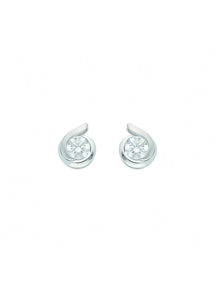 1001 Diamonds Damen Goldschmuck 333 Weißgold Ohrringe / Ohrstecker mit Zirkonia, silber