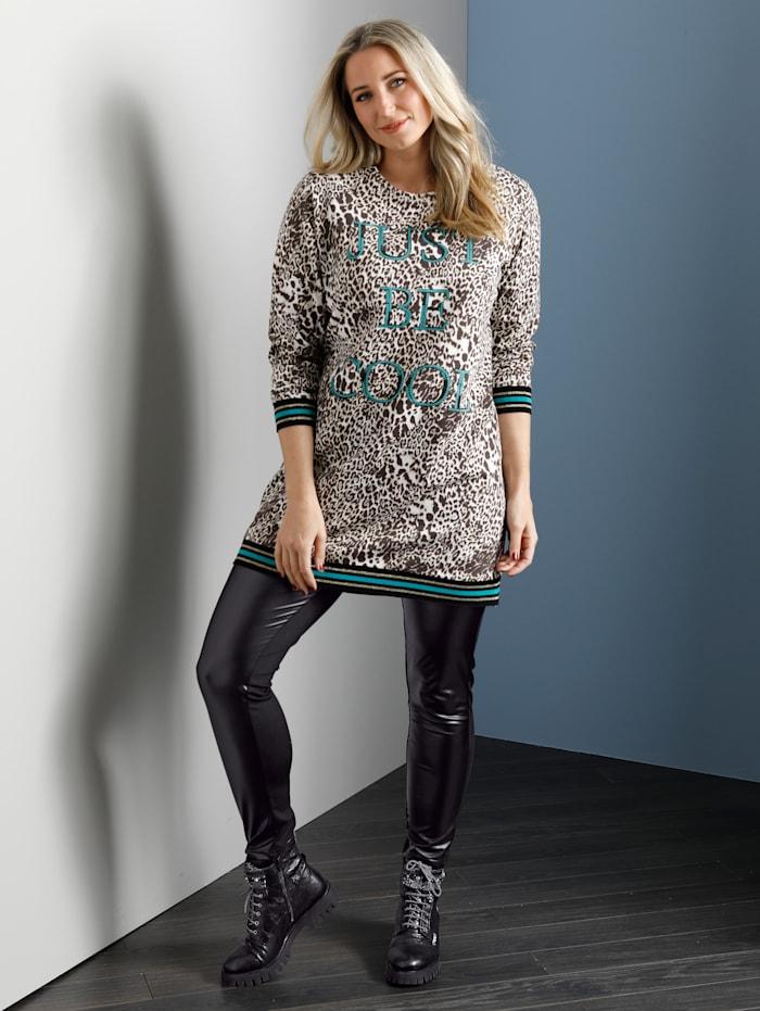 MIAMODA Sweat-shirt long à imprimé brillant devant, Beige/Marron/Turquoise