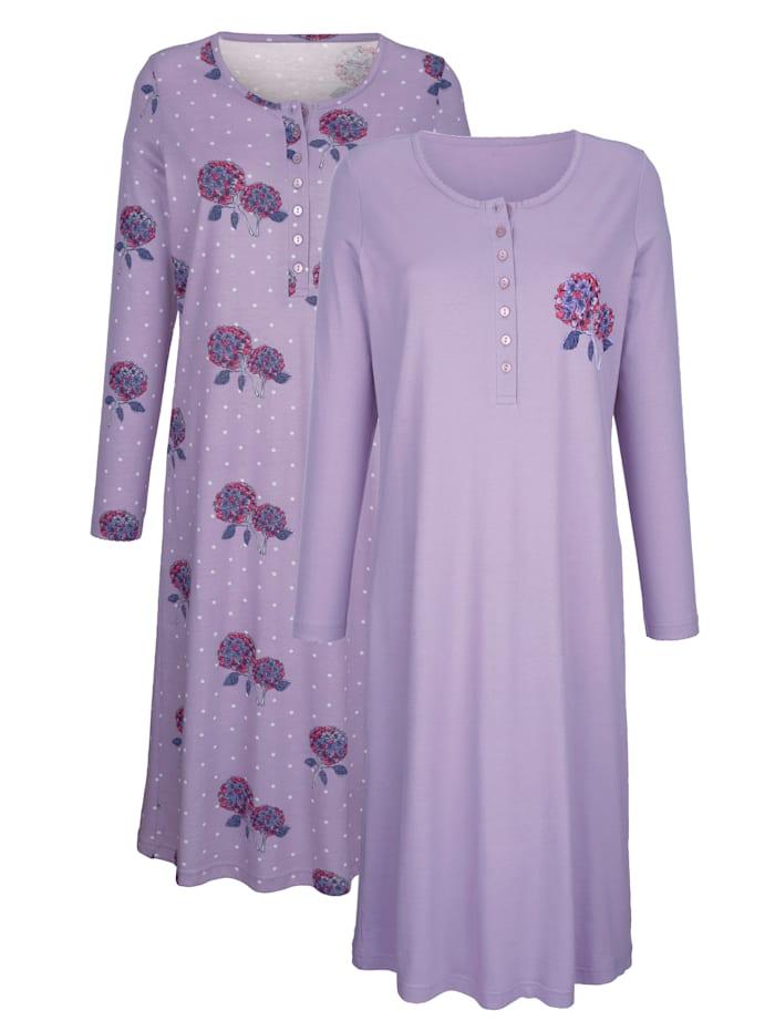 Harmony Nachthemden mit dekorativer Zackenlitze, Flieder/Lila/Ecru
