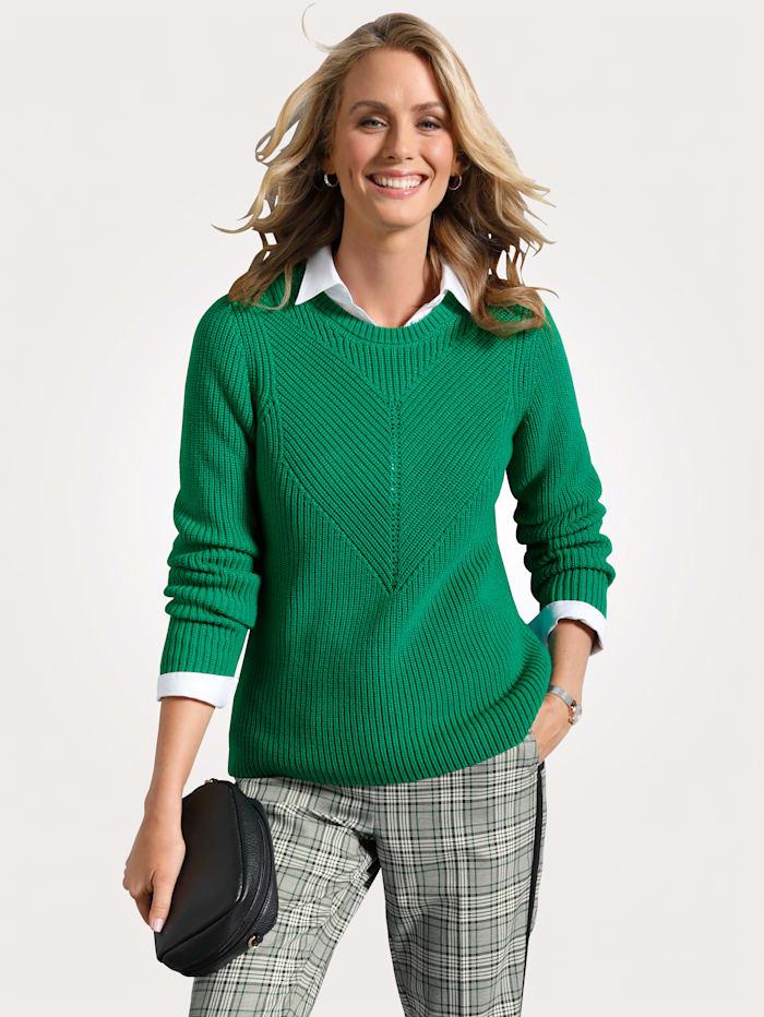 MONA Pullover mit Strukturstrick, Grün