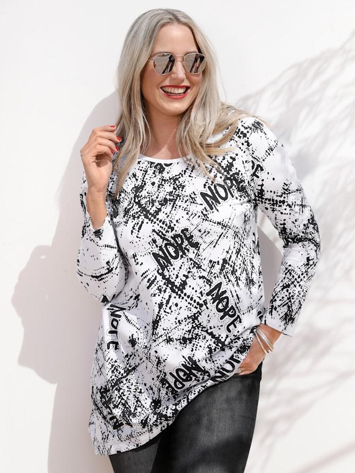 MIAMODA Shirt met ronde hals, Wit/Zwart