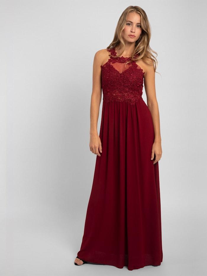 APART Abendkleid nahezu rückenfrei, mit Trägern aus Spitze, weinrot