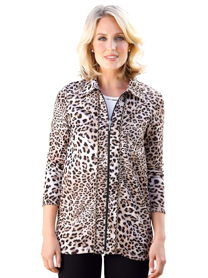 Vetoketjullinen leopardikuosinen paitajakku