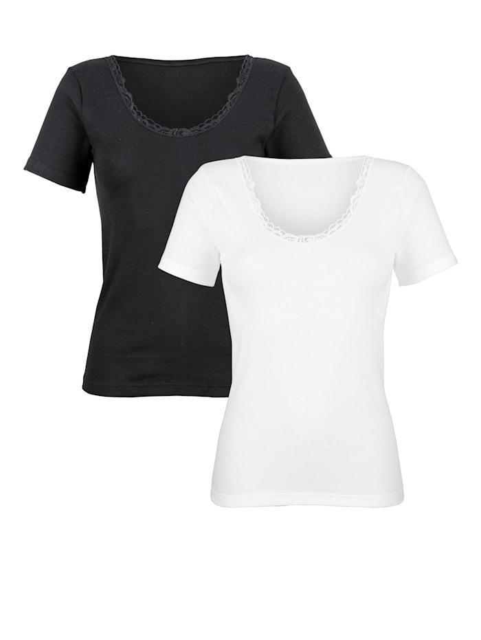 """Harmony Shirt aus dem """"Cotton made in Africa""""-Programm, Weiß/Schwarz"""
