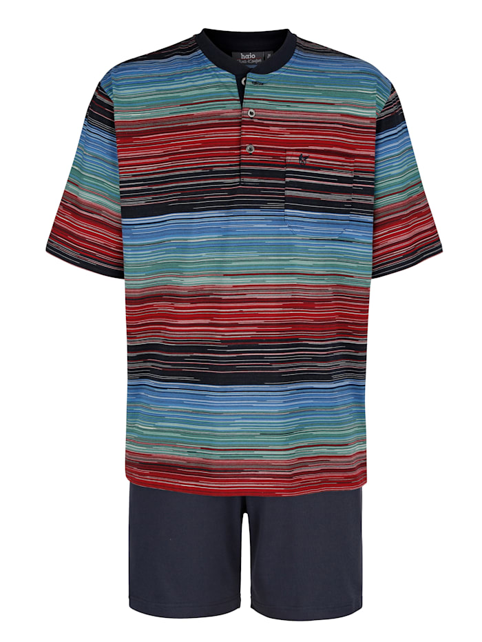Pyjashort en matière thérmorégulatrice et rayures en tissé-teint, Marine/Rouge/Vert