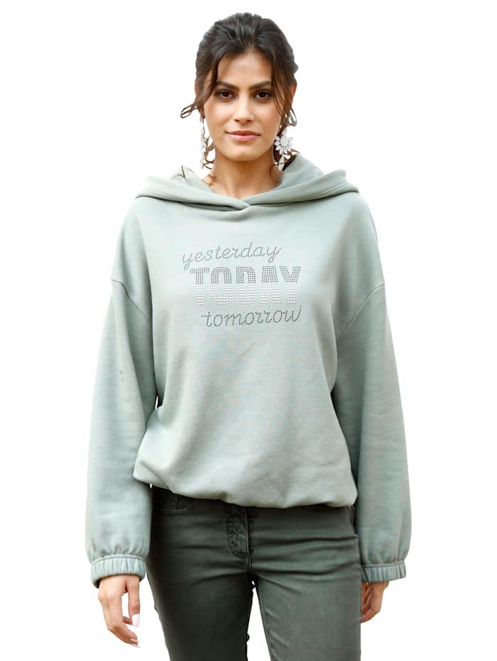 AMY VERMONT Sweatshirt mit Schriftzug aus Nieten, Grün