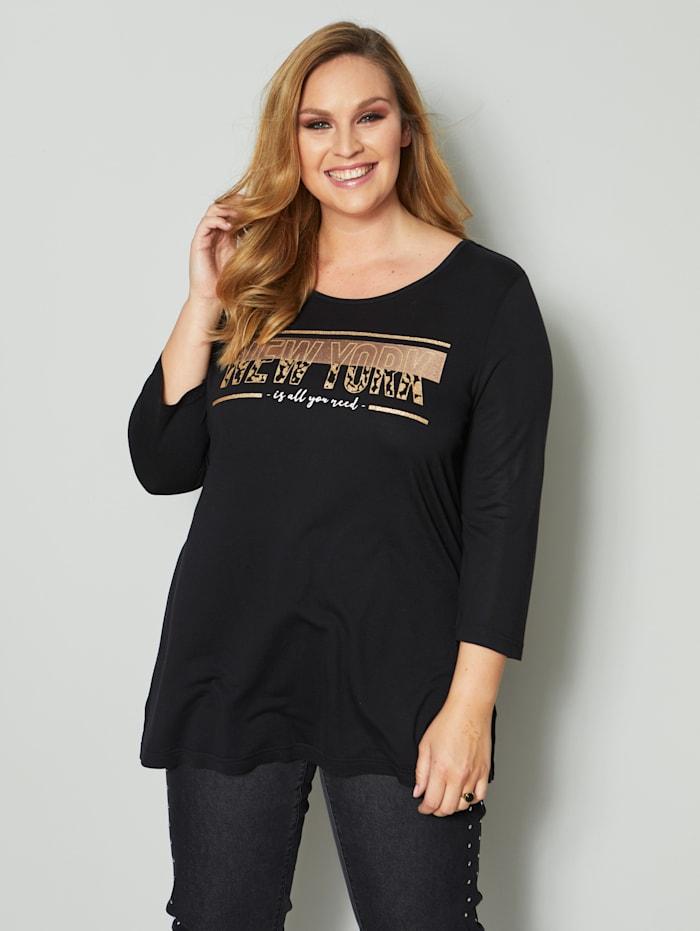 Sara Lindholm Shirt mit Glanzdruck, Schwarz/Cognac