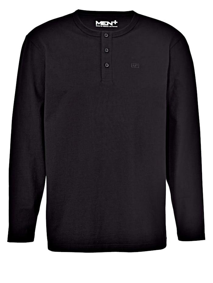 Men Plus Henley shirt met knoopsluiting, Zwart