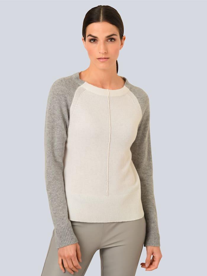 Alba Moda Pullover in sehr luftiger Strickart, Creme-Weiß/Hellgrau