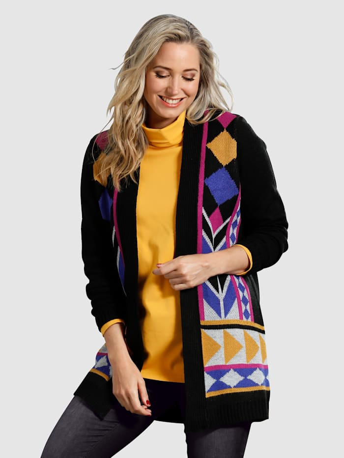 MIAMODA Lang strikkejakke med flott mønster, Svart/Lilla