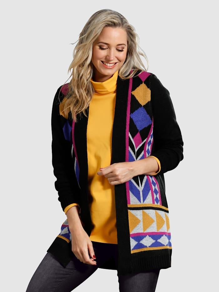 MIAMODA Vest met mooi breipatroon, Zwart/Paars