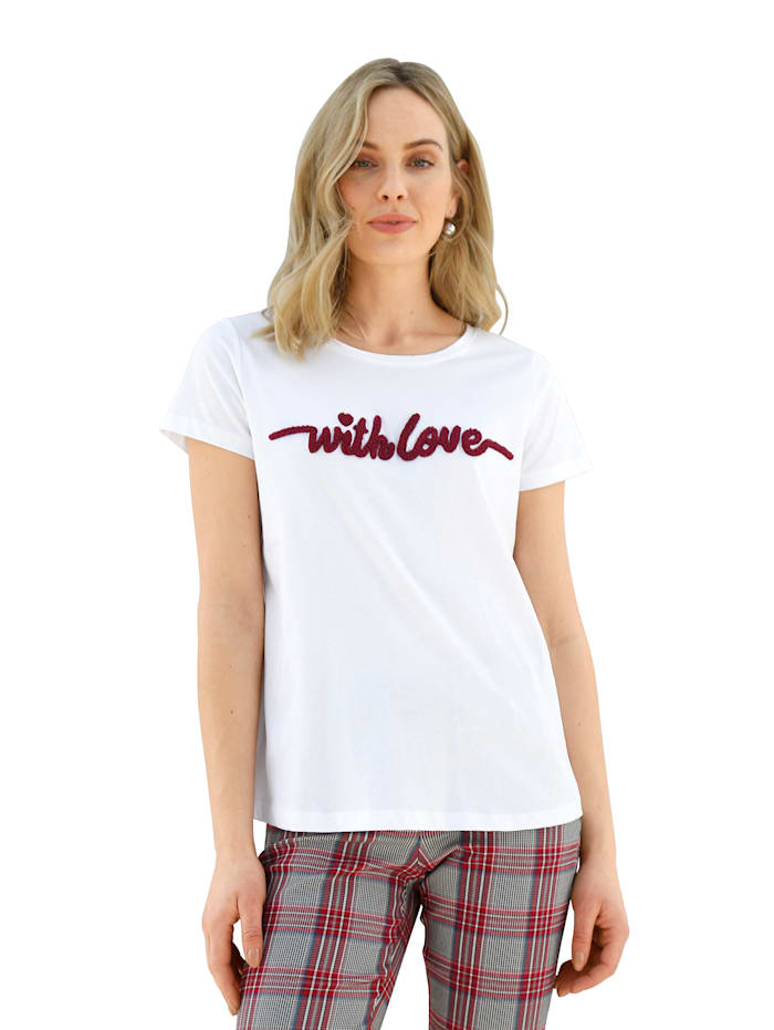 AMY VERMONT Shirt met borduursel voor, Wit/Rood