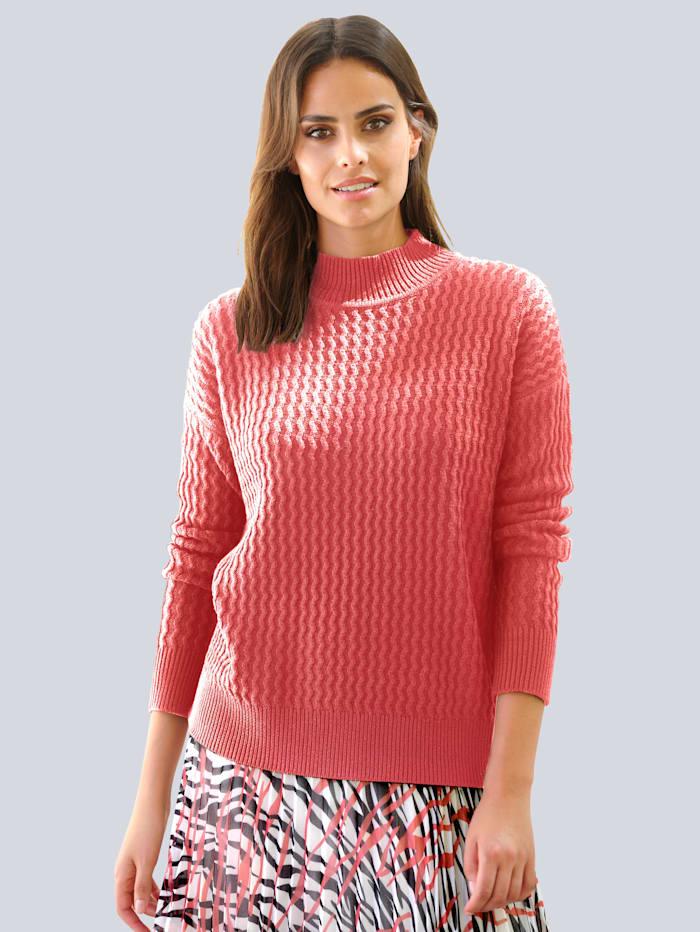 Alba Moda Pulovr v pěkném strukturovaném pletení, Korálová
