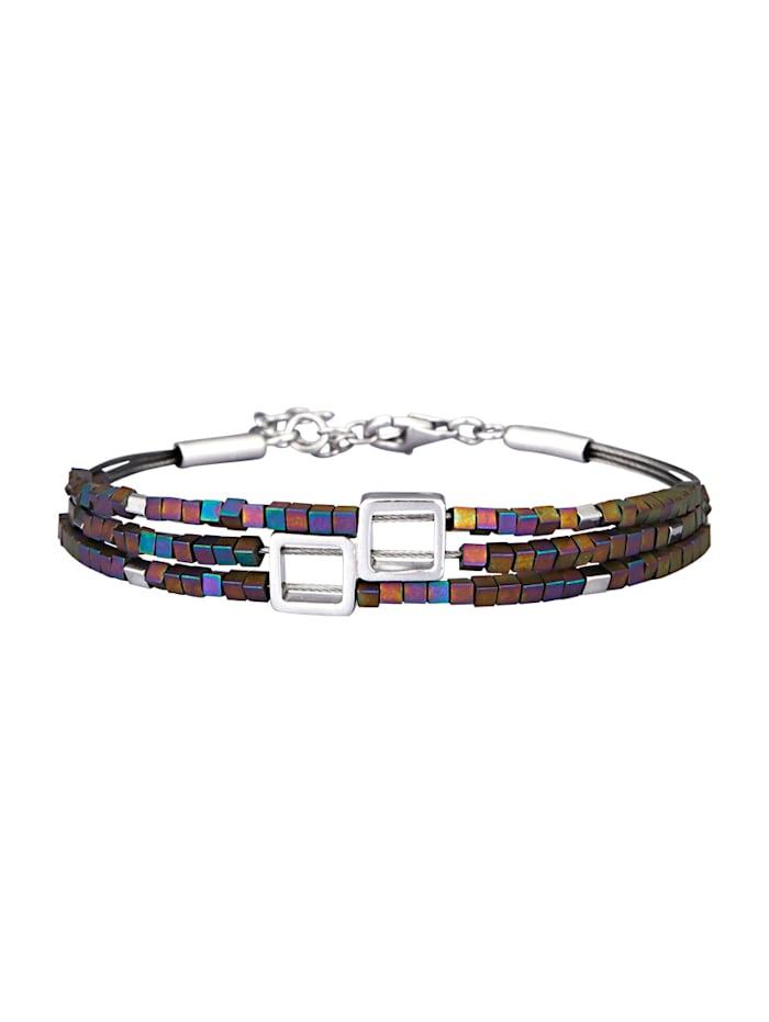 Diemer Silber 3rhg. Armband mit Hämatit, Multicolor