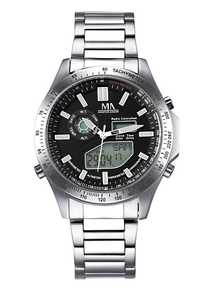 Meister Anker Herren-Funk-Solar-Uhr Chronograph, Silberfarben