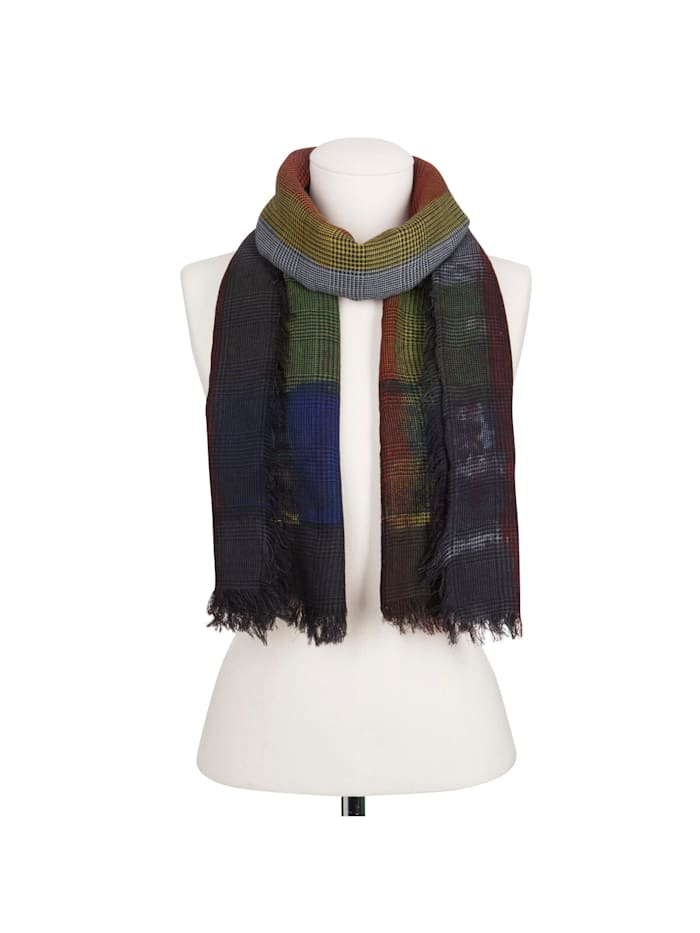 Premium Karo-Schal aus feinster Wolle mit Seide – Made in Italy