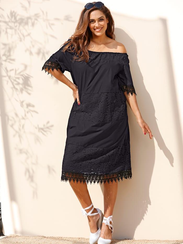 MIAMODA Kleid mit Carmen Ausschnitt, Schwarz
