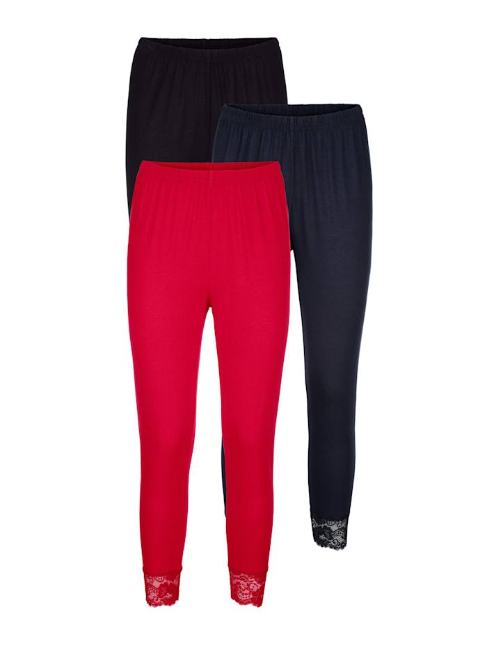 Harmony Leggings mit hübschem Spitzenabschluss, Schwarz/Marineblau/Rot