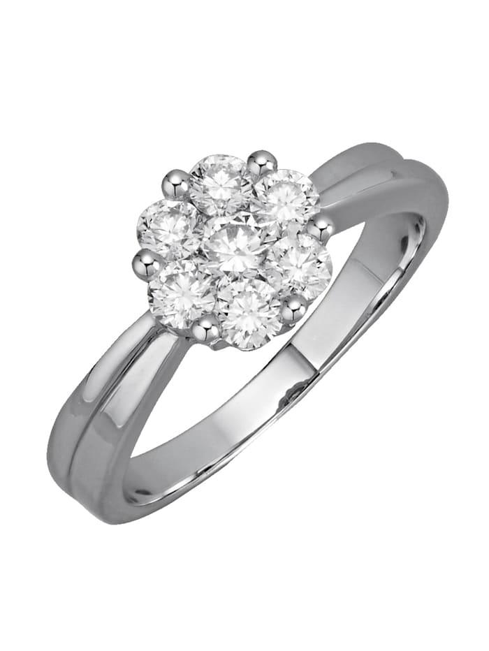 Amara Diamants Bague avec brillants purs à la loupe, Coloris or blanc