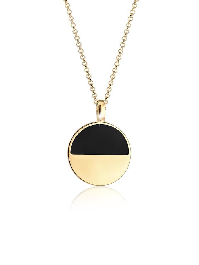 Elli Halskette Geo Kreis Emaille Bi-Color 925Er Sterling Silber, Gold