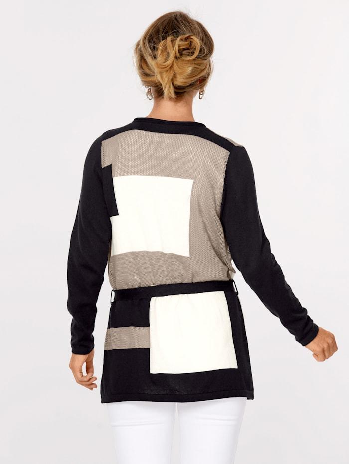 MONA Cardigan in a patchwork design, Black/Taupe/Ecru