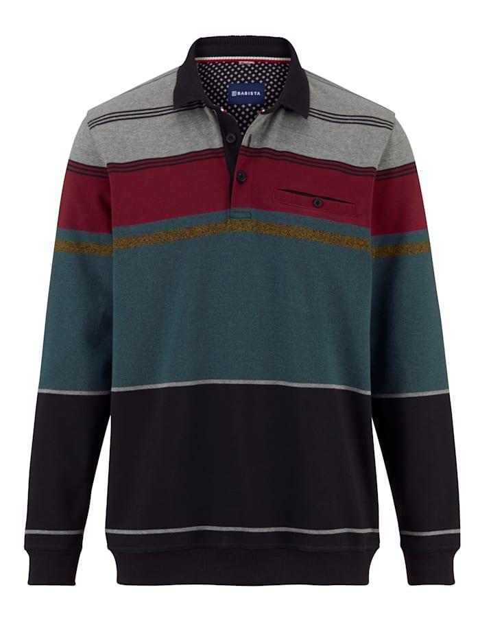 BABISTA Sweatshirt med krage, Grön/Bordeaux