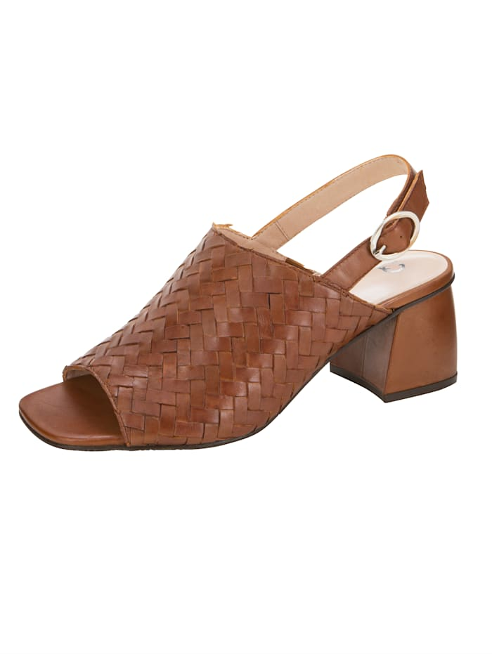 Gerry Weber Sandals made from soft leather, Cognac