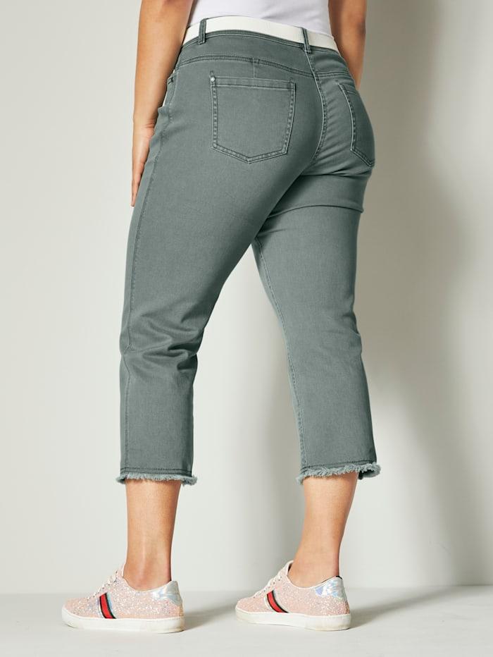 7/8-Jeans mit ausgefranstem Saum