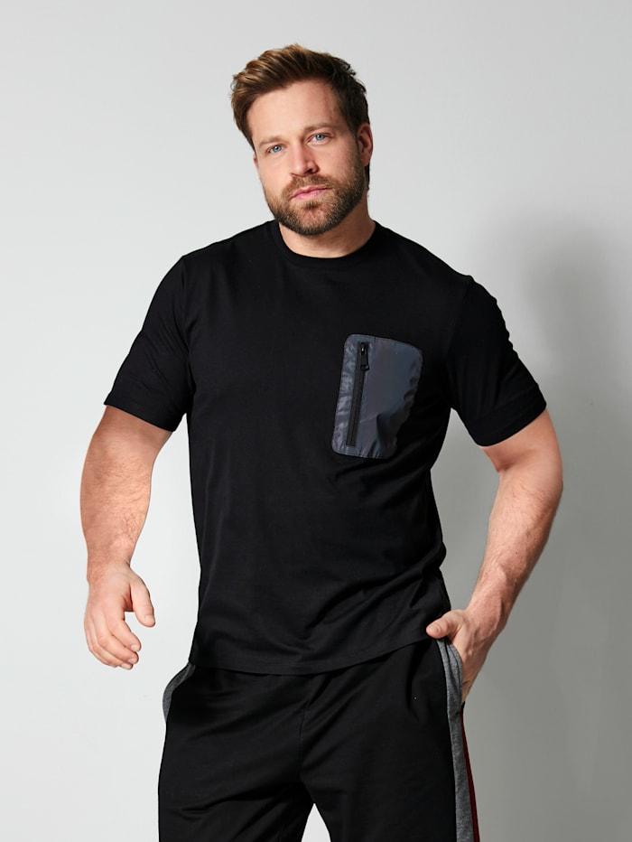 Men Plus T-shirt met een borstzak, Black