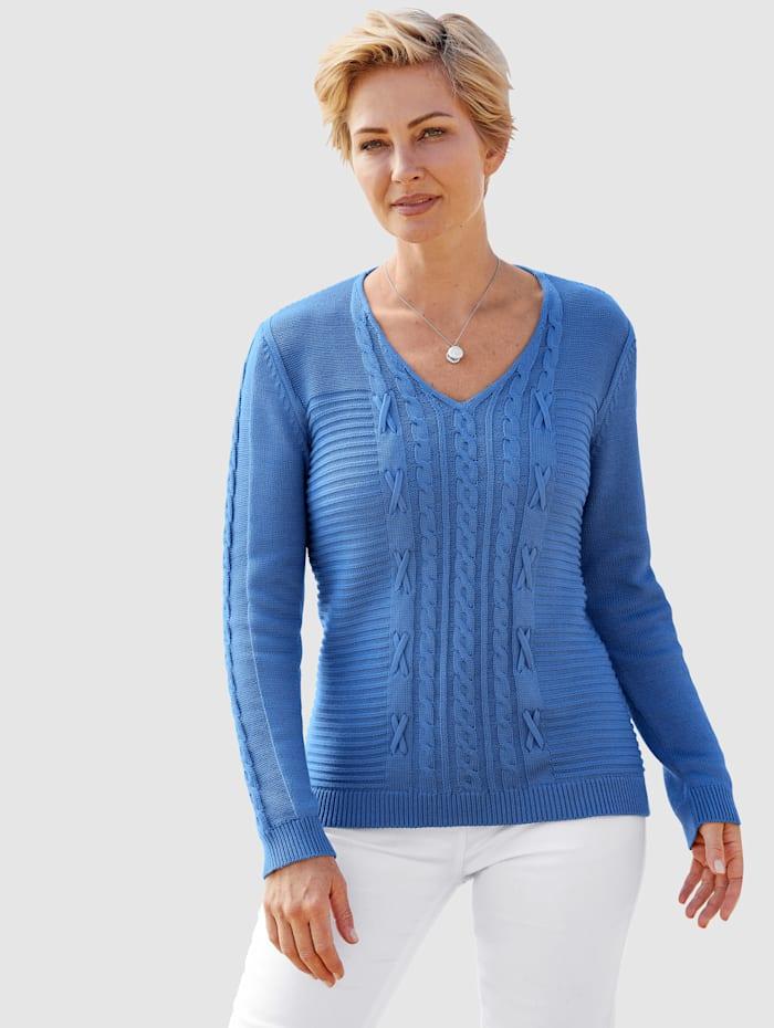 MONA Pulóver s vrkočovým a štrukturovaným pletením, Modrá