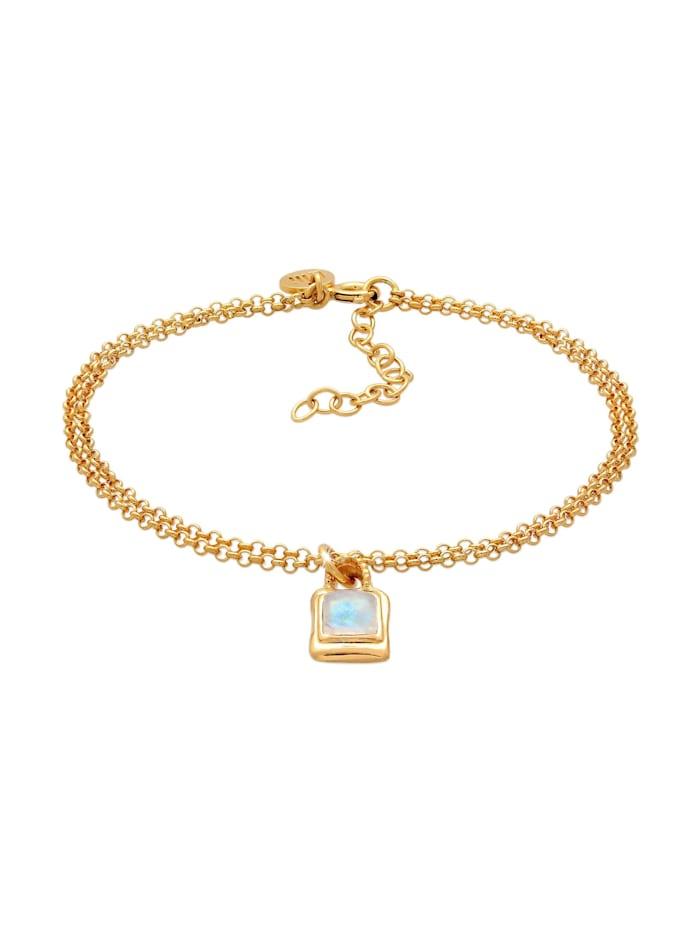 Elli Premium Armband Mondstein Edelstein Vintage Layer Look 925 Silber, Gold