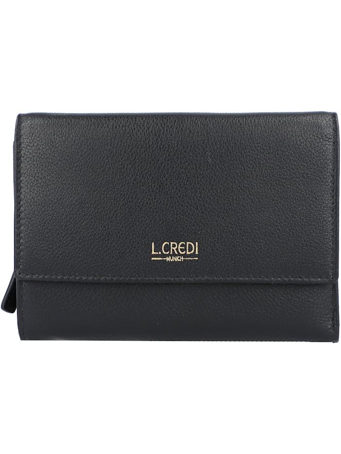 L.Credi Evelyn Geldbörse RFID Leder 14,5 cm, schwarz