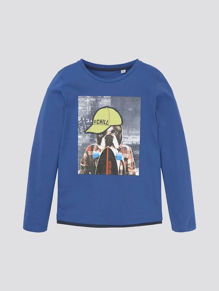 Tom Tailor Langarmshirt mit Foto-Print, nautical blue blue
