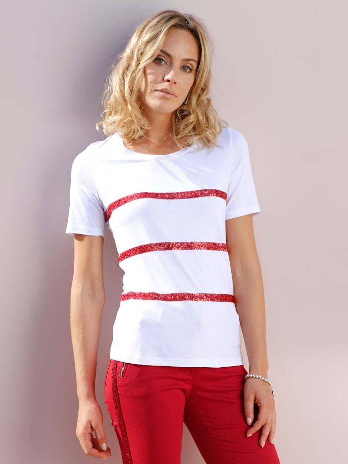 AMY VERMONT Shirt mit Pailletten, Weiß/Rot