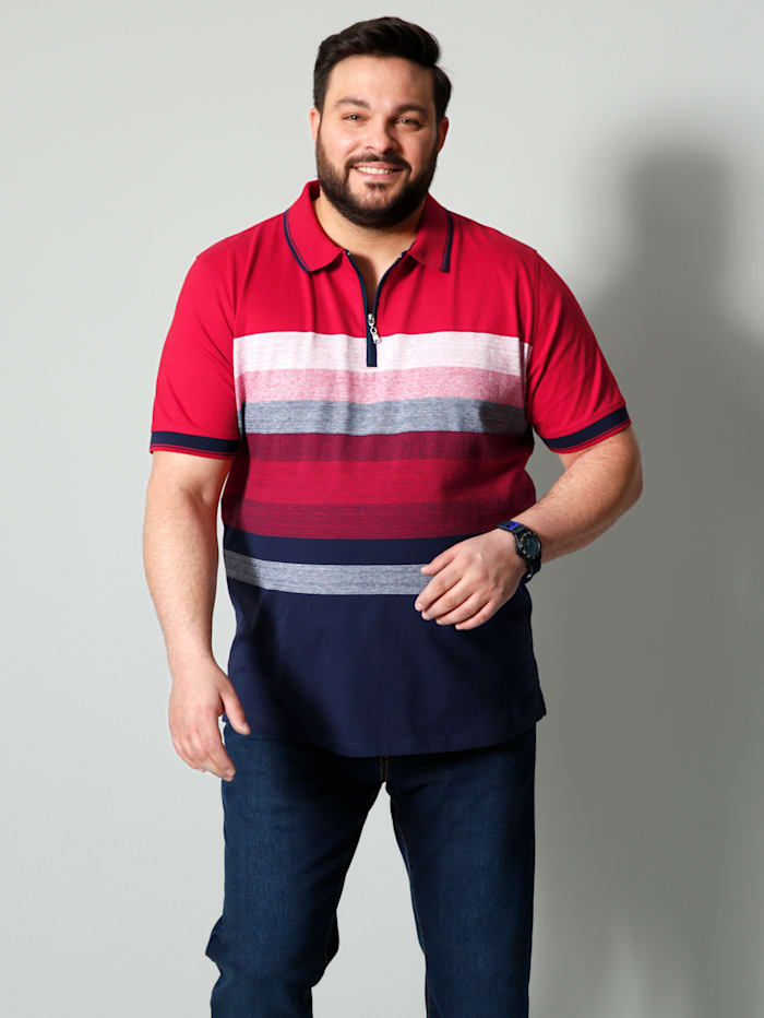 Men Plus Poloshirt aus reiner Baumwolle, Marineblau/Rot