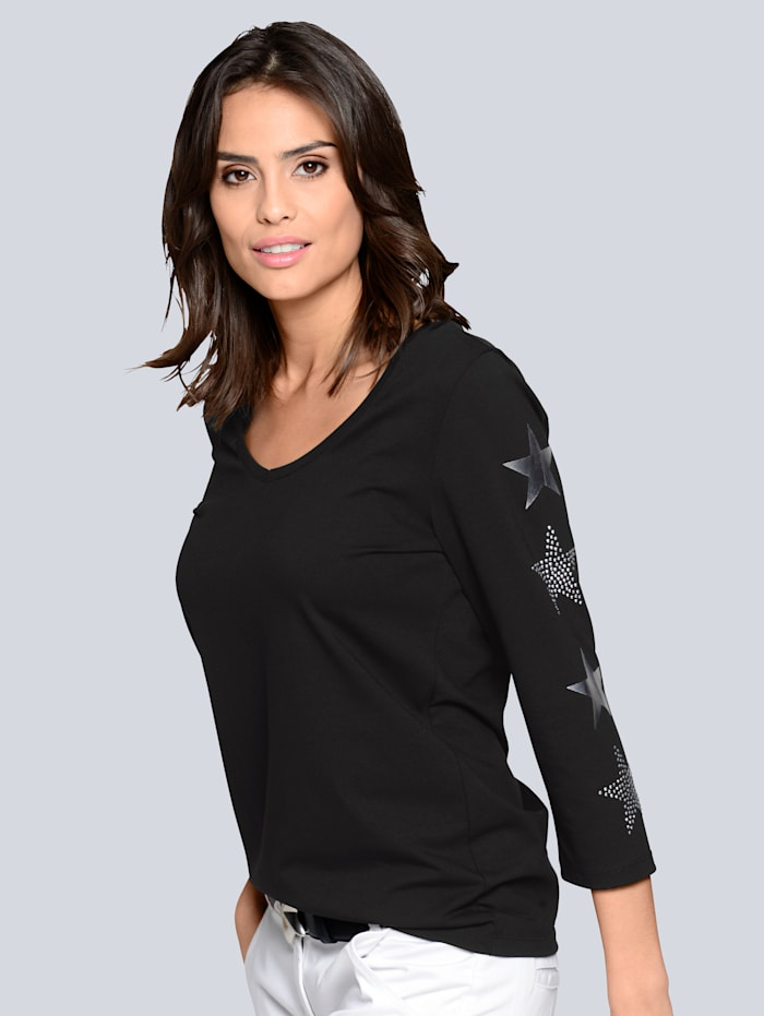 Shirt mit metallicfarbenem Sternendruck