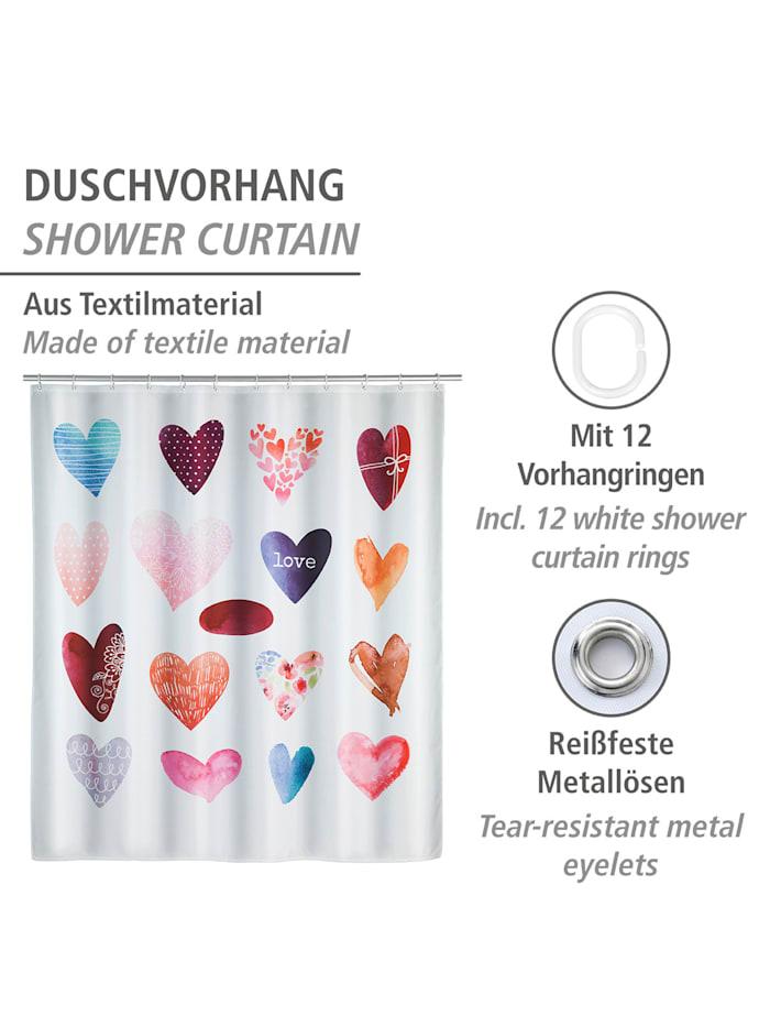 Duschvorhang Love, Textil (Polyester), 180 x 200 cm, waschbar