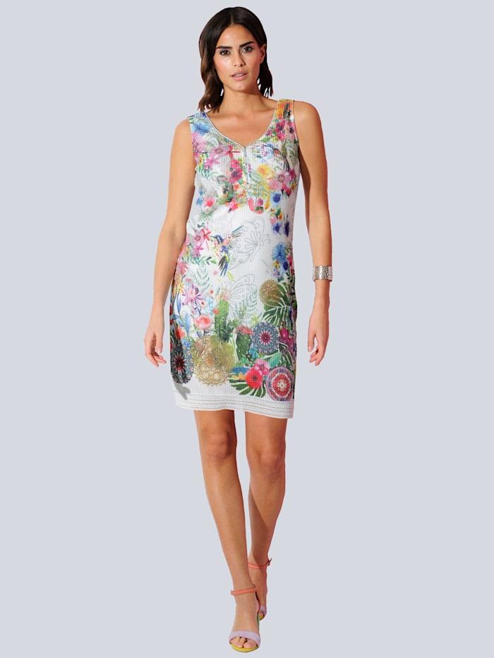 Alba Moda Jersey jurk met bloemendessin rondom, Wit/Rood/Groen/Blauw