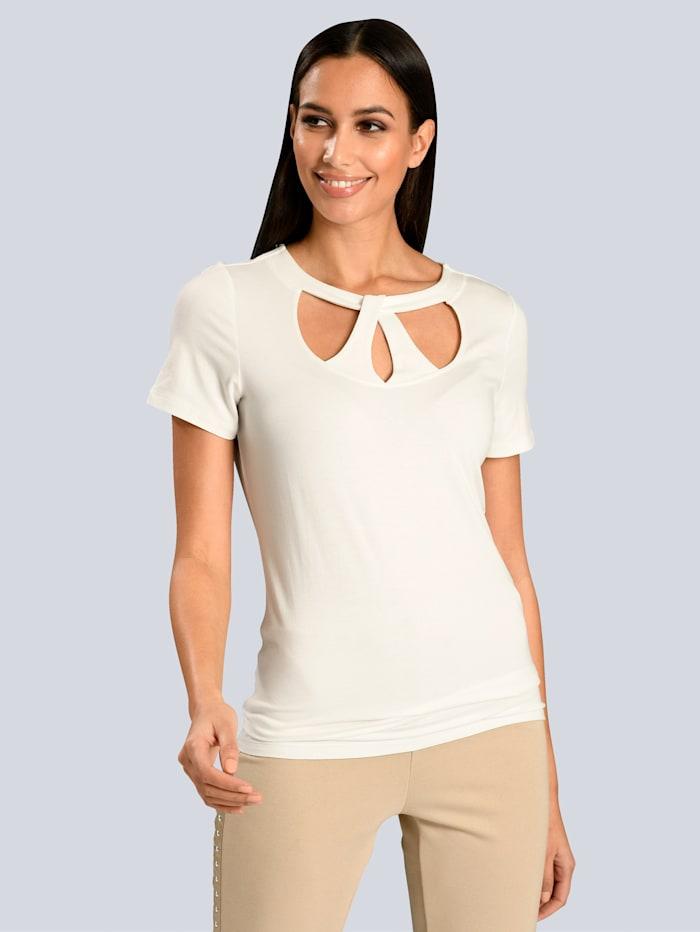 Alba Moda Shirt mit Cut-Outs am Ausschnitt, Off-white